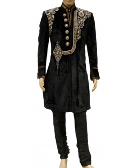AUM DESIGN MEN'S LUXURIOUS BLACK VELVET SHERWANI