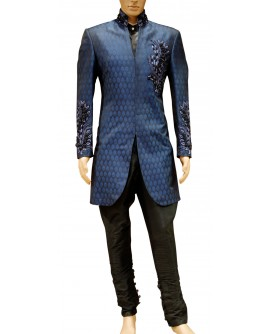 AUM DESIGN MEN'S BROCADE INDO WESTERN SMART BLUE SHERWANI