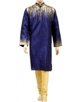 AUM DESIGN BLUE KURTA WITH CONTEMPORARY YELLOW PYJAMA