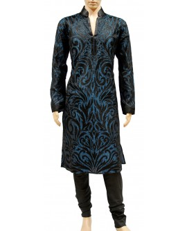 AUM DESIGN BLUE CONTEMPORARY KURTA WITH PURE SILK BLACK PYJAMA