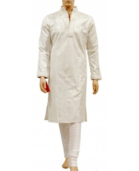 AUM DESIGN WHITE COOL FULLY EMBROIDERED KURTA PAYJAMA
