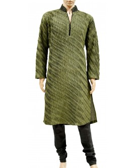 AUM DESIGN GREEN CONTEMPORARY TUCKED GREEN KURTA PAYJAMA