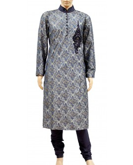 AUM DESIGN FULLY EMBROIDERED BLUE & GOLDEN KURTA PAYJAMA