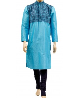 AUM DESIGN SKY BLUE KURTA DARK BLUE PEARLS WORK