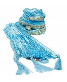 AUM DESIGN Shining Sky Blue Stole